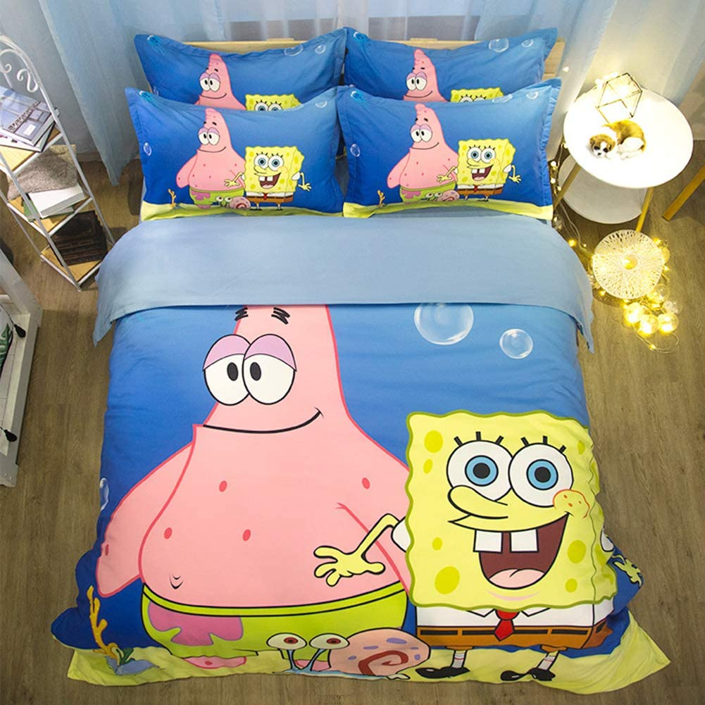 ZHOUING-- Spongebob Squarepants Movie Style Bedding Set, For Cartoon Fans, For Your Kids And Friends,1.5M