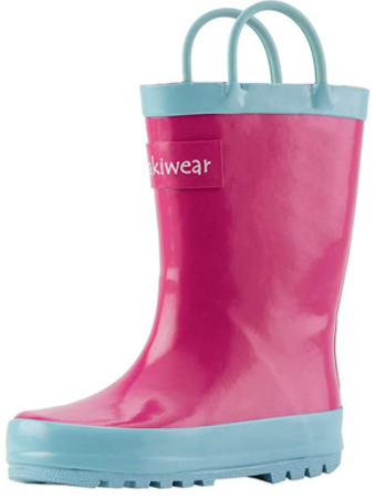 Oakiwear Kids Waterproof WELLIES Rubber Rain Boots with Easy-On Handles Jazzy Pi