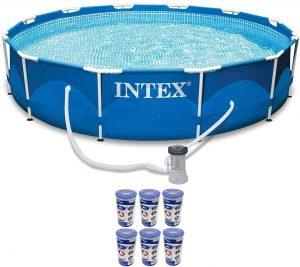 "Intex 12' x 30"" Metal Frame Set Swimming Pool with 530 GPH Filter Pump   28211EG"
